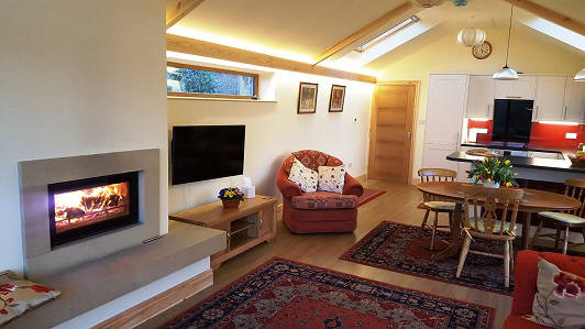 Lovely wood burning fire at Willow View self catering cottage
