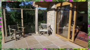 Sheltered sunny patio at Willow View Cottage self catering near Hexham Northumberland
